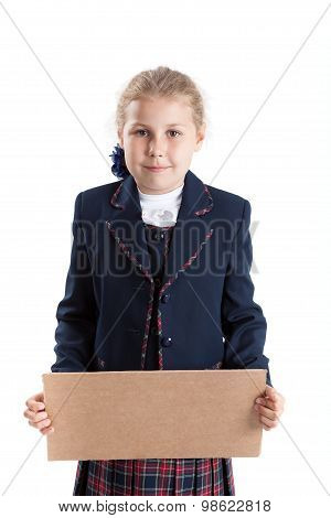 Caucasian Schoolgirl Holding Paperboard In Hands, Looking At Camera, Isolated On White Background