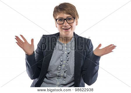 Image happy pudgy woman with open hands