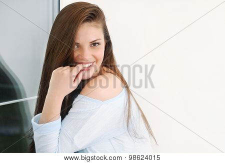 Cute Young Woman Relaxin At Home In Comfy Soft Sweater