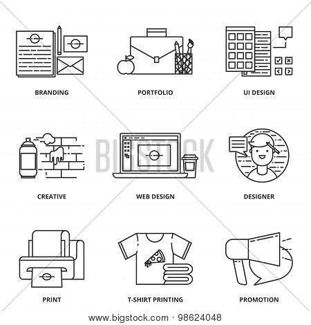 Branding, Corporate Identity And Design Vector Icons Set Modern Line Style
