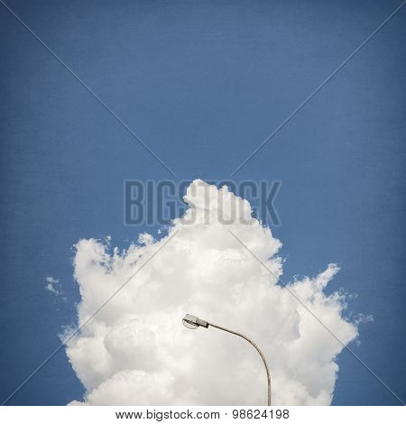 street lamp with cloud and sky