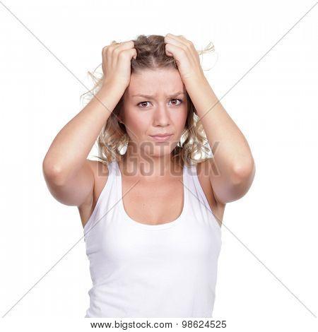 beautiful blond woman tests a headache