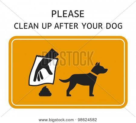 Please clean up after your dog sign