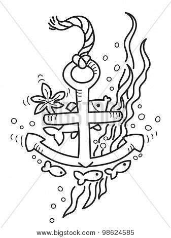 Freehand drawing of sunken anchor. Outline drawing good for coloring books