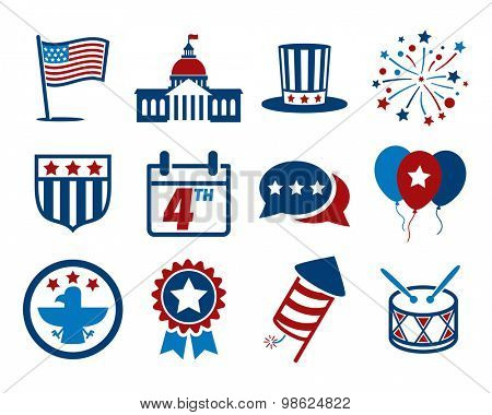 United States of America Independence Day icon set // 4 July