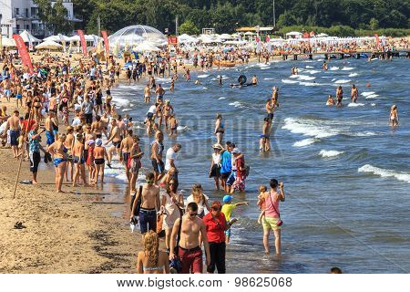 Crowded Sandy Beach In Sopot
