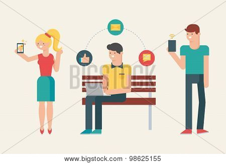 Vector Illustration Of People Using Modern Gadgets: Smartphone, Tablet, Laptop