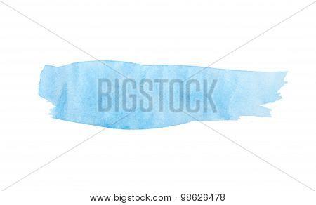 Paint Brush Stroke Texture Blue Watercolor Spot Blotch Isolated