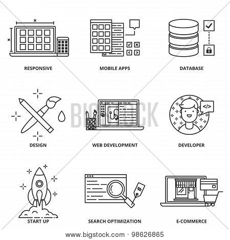 Web Development And Design Vector Icons Set Modern Line Style