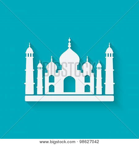 Taj Mahal on blue background