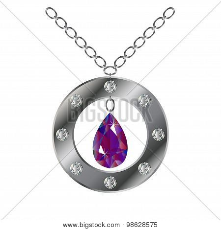 Silver Round Pendant, Bright Purple Gem. Vector Illustration