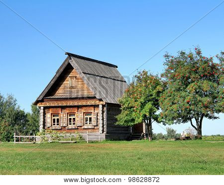 Old Russian national wooden house - izba