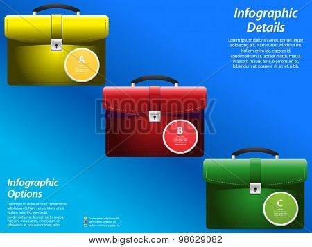 Info graphic With Briefcase On Blue Background