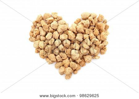 Soya Protein Chunks In A Heart Shape