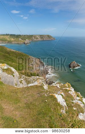 Coast near Three Cliffs Bay south coast the Gower Peninsula Swansea Wales uk