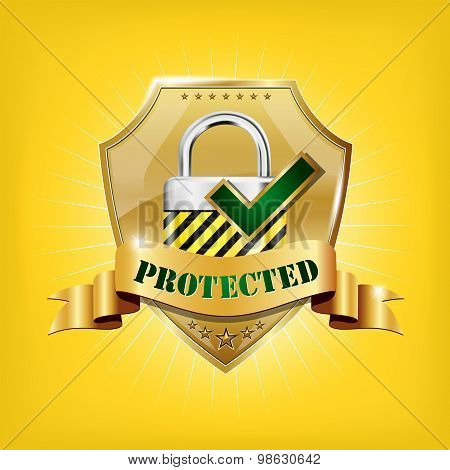 Golden Security Shield With Lock And Protected