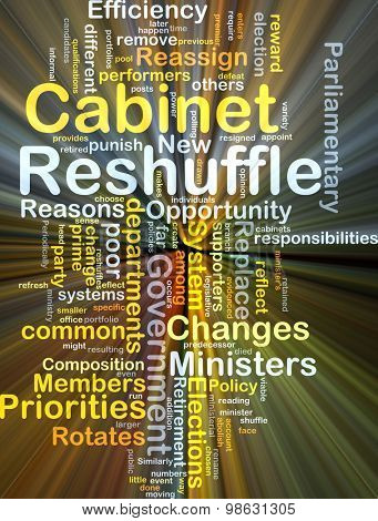 Background concept wordcloud illustration of cabinet reshuffle glowing light