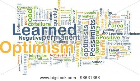 Background concept wordcloud illustration of learned optimism