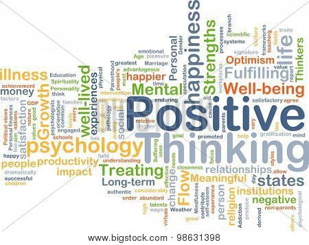 Background concept wordcloud illustration of positive thinking