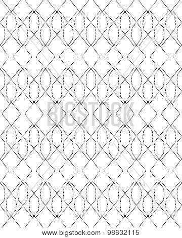 Black And White Seamless Pattern Modern Stylish With Dashed Line, Abstract Background.