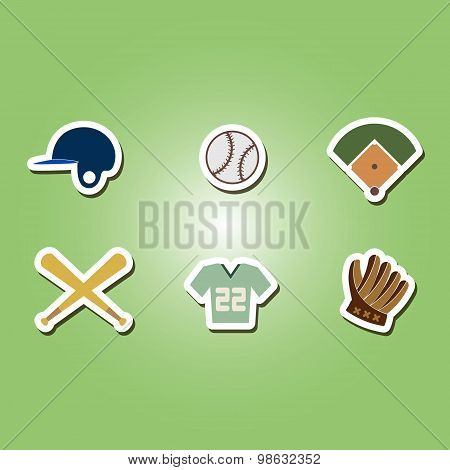 color set with baseball icons