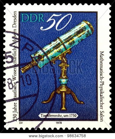 Vintage Postage Stamp. Table Telescope.