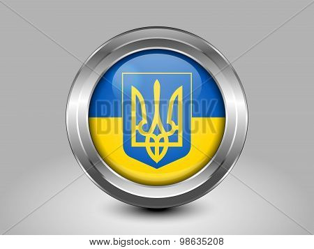 Flag Of Ukraine With Coat Of Arms. Metal Round Icon