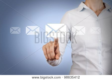 Email Conceptual Touching on Screen