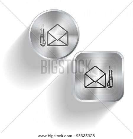 open mail with knife. Vector set steel buttons