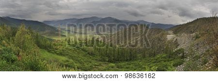 Storm clouds over North Chuya ridge of Altai Mountains.