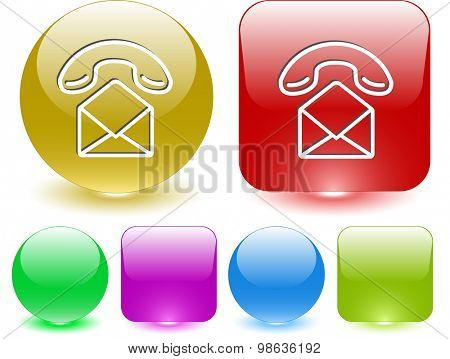 open mail with handset. Vector interface element.