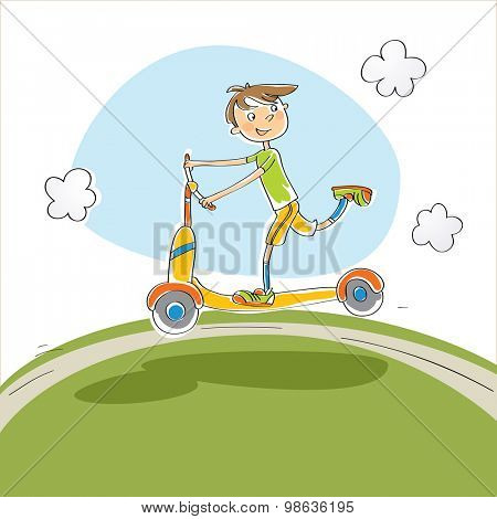 Boy riding a scooter, playing in park. Vector doodle style sketch illustration.