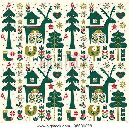 Danish Style Christmas Seamless Pattern
