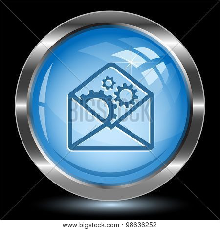 open mail with gears. Internet button. Vector illustration.