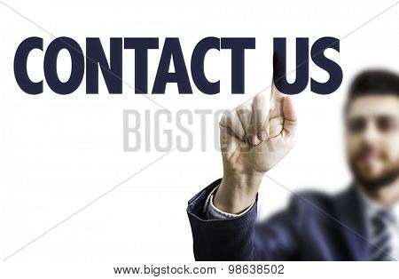Business man pointing the text: Contact Us