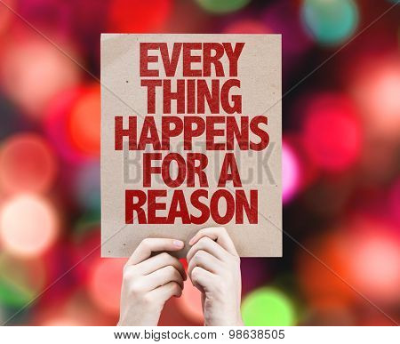 Every Thing Happens For a Reason card with bokeh background