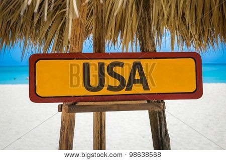 USA sign with beach background