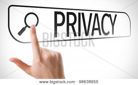Privacy written in search bar on virtual screen