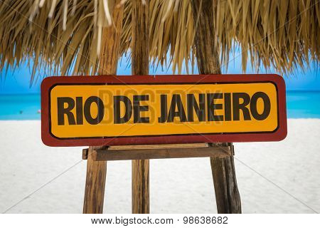 Rio de Janeiro sign with beach background