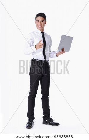Full body young business men with laptop