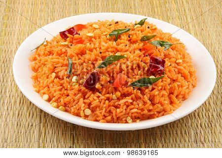 Plate of healthy tomato rice.