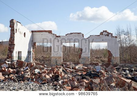 Wall Of A Ruined House