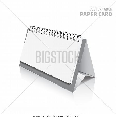 3D Table Paper Card Isolated On A Grey Background.