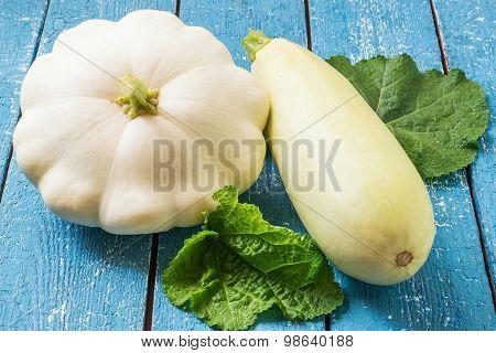Organic Vegetables: Zucchini And Patty Pan Squash