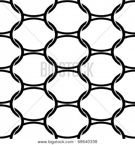 Black And White Geometric Seamless Pattern With Oval, Abstract Background.