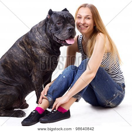 Girl Sitting And Smile Next To His Dog Cane Corso. Square Crop