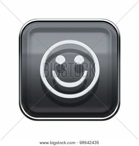 Smiley Face Glossy Grey, Isolated On White Background