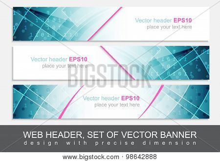 Set of web header footer or banner. Design for your creative website presentation or project