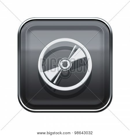 Compact Disc Icon Glossy Grey, Isolated On White Background