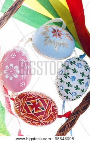 Top-down detail view of isolated Easter eggs